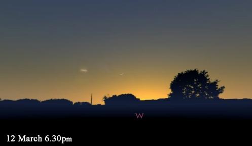 March 12 stellarium comet blue