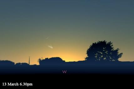 Simulasi kenampakan komet tanggal 13 Maret setelah Matahari terbenam