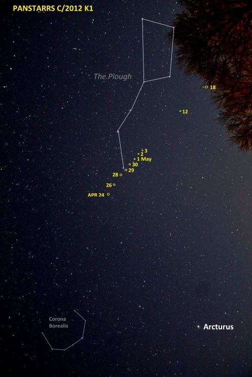 PANSTARRS path Apr 24 - May 18